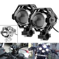 faróis de moto universais u5 venda por atacado-1 Par U5 LED Motocicleta Farol Transform Spotlight 3000LM 125 W 12 V Liga De Alumínio de Alta Brilho Moto Farol com Chave MOT_216