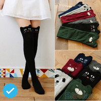 Wholesale Knitted Thigh High Stockings - Wholesale- Autumn Winter Thigh High Stockings Women Female Compression Stocking Cat Dog High Knee Socks Fashion Knitted Boot socks NQ934144