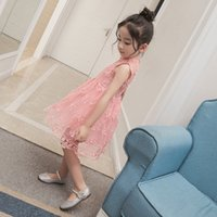 Wholesale Knee Hight Dresses - Freeshipping 2017 Kids Spring Lace Princess Sleeveless Dressess Girl Flower Embroidery Vest Dress Hight Quality Baby Clothing