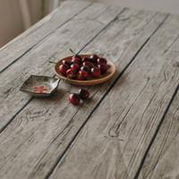 elegant table cloths NZ - Retro simulation wood table cloth European Style High Quality Cotton linen RectangularTablecloth Decorative Elegant Table Cover