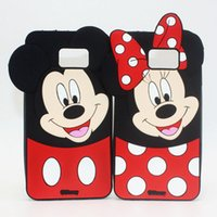 Wholesale Galaxy S3 Phone Cartoon Covers - Cover For Samsung Galaxy J1 J3 J5 J7 A5 A7 S3 mini S4 S5 S6 S7 edge Note 4 5 7 Minnie Mickey Mouse 3D Cute Cartoon Soft Silicone Phone Cases