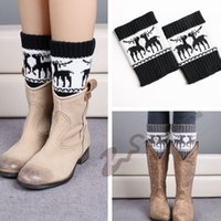 Atacado- Mulheres Novas Mulheres Crochet Knitted Snowflake Design Boot Punhos Toppers Knit Leg Warmers Winter Short Liner Boot Socks