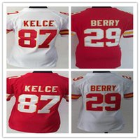 Wholesale Cheap Girls Shirts Shorts - Cheap top quality girls jerseys 87 kelce 29 Berry wholesale nice womens red white color limited stitched fashion shirt
