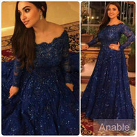 Plus Size Sparkly Vintage Abendkleider 2015 Günstige Long Sleeves Perlen Kristalle gekräuselt Sweep Zug Arabic Navy Blue Lace Formal Prom Gowns