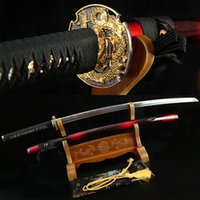 Black spring steel sword - Japanese Samurai Handmade Katana Real Sword classic Spring Steel Full Tang Blade espadas medievales decorative swords