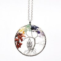 Wholesale Natural Chip Necklace - Women Rainbow 7 Chakra Amethyst Tree Of Life Quartz Chips Owl Pendant Necklace Multicolor Wisdom Tree Natural Stone Necklace