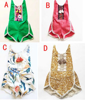 Wholesale Girls Short Floral Jumpsuit - INS Baby Tassel Romper Jumpsuits summer toddler kids floral printed kids clothing floral bodysuit romper girls cotton shorts jumpsuit