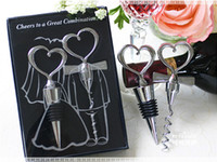 Wholesale Opener Stopper Wine - Wine Bottle opener Heart Shaped Great Combination Corkscrew and Stopper Heart-Shaped Sets Wedding Favors Gift wa3914