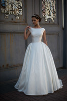 Wholesale Wedding Dress Designers China - Designers Simple Satin Wedding Dresses 2017 Vestido De Noiva Ivory Satin Boat Neck China Cheap Merry Cap Sleeve Long Garden Bridal Gowns
