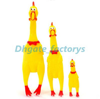 Wholesale Chicken Toy Sound - 200pcs lot Cute Yellow Chicken Shape Sound Pet Toy Dog Cat Non-toxi Rubber Chewing Toys Drop Shipping Fast Delivery Time
