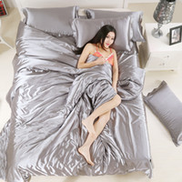Wholesale Satin Comforters - Super Comfy Duvet Covers Comforter Sets Bed Linen Luxury Silk Satin Bedding Spring Summer Bed Comforters