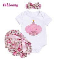 Wholesale Baby Headhands - Newborn Baby Girl Fashion Bodysuits Sets Body Infantile Short Sleeve Headhands Bloomer 2017 Cotton Infant Kids Clothes Clothing Factory Z605