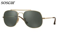 Wholesale Big Size Sunglasses - New Arrival 3561 Soscar Sunglasses for Men Brand Designer Sunglasses The General Sunglasses Big Size 57mm Metal Frame Glass Lenses with Box