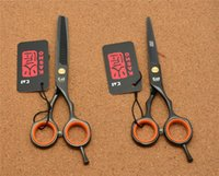 Wholesale Hair Salon Colours - H1004 5.5'' Japan Kasho Black Colour Hairdressing Scissors Factory Price Cutting Scissors Thinning Shears professional Human Hair Scissors