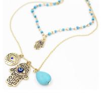 Wholesale Blue Bead Evil Eye Necklace - Wholesale-New Design Fashion Charms Blue Evil Eye Hamsa Hand Necklace Vintage Bead Turquoise Necklaces&Pendants Women Fine Jewelry A020