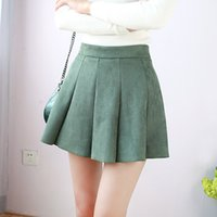 Wholesale High Waist Skirt Korean - Japanese Fashion All Match Shorts Skirt Women 2017 Cute High Waist Preppy Chic Suede Mini Skirts Korean Ulzzang Pleated Saias