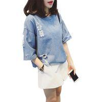 Wholesale Denim Tshirt - Wholesale- AUFYSO Denim Tshirt Women 2017 Summer Japanese Style Vintage Half Sleeve Frayed Hole Short Jeans Tops Black Blue tee shirt femme