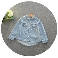 Wholesale Wholesale Vintage Girls Clothing - Everweekend Girls Denim Pocket Autumn Tops Vintage Korea Western Fashion Children Blouse Princess Lovely Baby Clothing