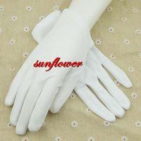 Wholesale White Cotton Work Gloves Wholesale - 2017 New Cotton Women Men White Gloves Prom Opera Dance Work Elastic Wrist Gloves For Adults Wedding Party Dress Decoration