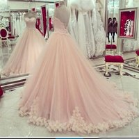 2017 Blush Pink Quinceanera Vestidos Sweetheart Applique Lace Sweet 16 Vestidos Plus Size Hot Sale Masquerade Formal Prom Ball GownCheap