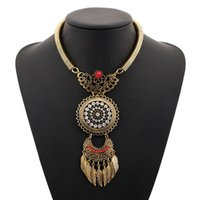 Wholesale Jewelry Findings Links - Wholesale- Find Me 2017 brand Boho Fashion Feather big gem collar Choker necklaces & Pendants Vintage statement maxi Necklace women Jewelry