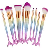 Wholesale power makeup resale online - DHL Ship Mermaid Brush Rainbow Makeup Brushes Set Cream Face Power Brushes Kits Multipurpose Beauty Rainbow Cosmetic Brush Kits