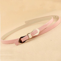Wholesale Leather Butterfly Belt - Womens Vintage Skinny Leather Belt Candy Synthetic Leather Women Alloy Butterfly Buckle Waist Belt Waistband Pin Buckle Simple Belts