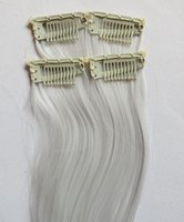 Wholesale Clip Hair Extensions Kanekalon - Clips in hair extensions synthetic kanekalon fiber clips hair 2clips pc 10pcs pack # White tangle free no shedding washbale Quercy Hair