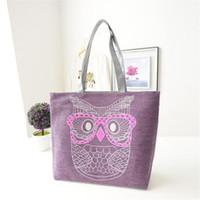 Wholesale Owl Handbags Bag - Wholesale- Fashion handbag women canvas Shoulder bag Lady Owl Handbags Tote shipping bag Hobo bucket sac a main femme de marque