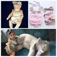 Wholesale Hair Colour 12 - 3 Style Baby Flower Rompers+Hair band+PP pants Summer Girl ins Cotton Print Sleeveless Romper with Bow Girls Ruffled Jumpsuit JC68