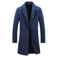 Wholesale Autumn Male Wool Breasted Fashion New Trend Wool Coat Slim Fit Jackets Fashion Exquisite Man Casual Pea Coat Plus Size XL