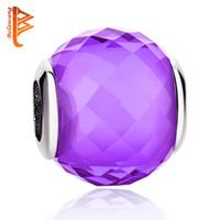 encanto european purple murano beads venda por atacado-BELAWANG Sterling Silver Handmade Charme Beads Fit Pandora PulseiraBangelo 925 Fazer Jóias Estilo Europeu Roxo Fazer Murano Glass Bead