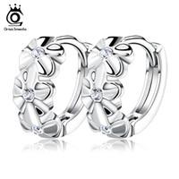 Wholesale Model Earrings - Orsa Jewelry S925 Sterling Silver Earring,3 Flowers Designs with Austrial Crystal,Latest Model Fashion Earrings OE29