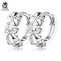Wholesale Sterling Silver Hoop Earring Crystal - Orsa Jewelry S925 Sterling Silver Earring,3 Flowers Designs with Austrial Crystal,Latest Model Fashion Earrings OE29