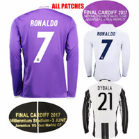 f4ce98b981e Soccer Men Full National Stadium of Wales Long Sleeve Madrid Soccer Jersey  Purple Benzema Ronaldo Bale