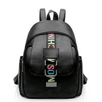 Wholesale Cute Travel Backpacks For Women - New Fashion Women Backpack Korean Style Shoulder PU Leather Backpacks For Teenage Girls Letter Travel Student Cute Backpack School Mochila