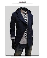 Wholesale Hooded Trenchcoat - Wholesale- Fall-Mens Hooded Trench Coats Double Breasted Korean Men Coat Jacket Hoodies Beige Navy Black Fashion Casual Trenchcoat Men