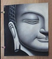 Wholesale Buddha Oil - Buddha head,Genuine Pure Handpainted religious Art oil Painting On Thick Canvas Museum Quality,customized size,