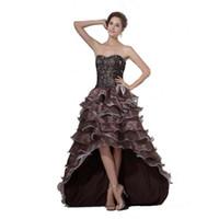 ingrosso abiti da sera di stile basso basso-2017 nuovo arrivo designer Prom Dress Ruffled Organza High Low Style donne eleganti abito da sera con applicazioni in rilievo