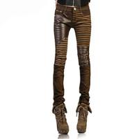 26559fb62f Atacado- Alta Qualidade Jeans De Couro Pu para Mulheres 2016 Moda Casual  Calças Pés Denim Mulher Lápis Plus Size Preto