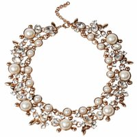 Wholesale Graduated Color - Fashion Women Gold Chains Pendants Necklaces With Pearl Retro Exaggeration Gold Sliver Color Party Club Present In Tennis