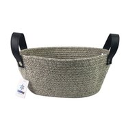 Wholesale Nursery Toys - Oral Natural Cotton Rope Storage Basket for Baby Storage and Toy Organizer, Nursery Baskets with PU leather handles ( Coffee) 10.2''*3.9''
