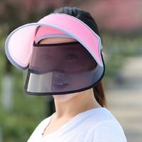 Wholesale Travel Beach Hats - 2017 Summer Fashion Women Visor Empty Top Sun Hat Wide Large Brim Face Sunscreen Cap Beach Travel Hats Sun Protection Caps