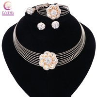 Wholesale multiple chain bracelet - Fashion Women Party Gold Color Crystal Multiple Circle Chain Flower Necklace Earring Bangle Ring Jewelry Set