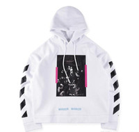 Wholesale Upper Turtleneck - 2017 new Hip Hop High Quality men Hoodie Skate Cotton OFF - WHITE OW WHITE religious who garment unlined upper Printing Hoodies Size S-XL