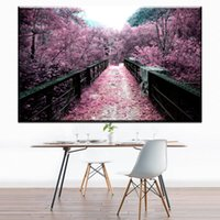 Wholesale Modern Cherry Blossom Decor - ZZ1687 Painting Wall Art Canvas Printed Modern Cherry Blossom Japan Modular Pictures Home Decor For Living Room Poster Cuadros