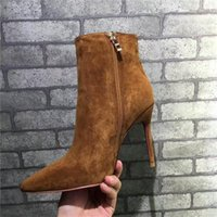 Wholesale Cheap Black Rhinestone Heels - Hot Sale Women Winter Boots Short Boots Genuine Leather Chain Rivet Pumps Cheap on Leather Shoes Black Gold Luxurious Brand Shoes