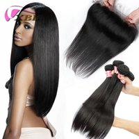 XBL Straight Hair Hair Extensions Lace Frontal Com Bundles Virgin Brazilian Hair Hair Bundles (Lace Size 13 * 4.5)