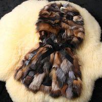 Wholesale Waist Coat Fur Vest - Free Shipping New Arrivals Genuine Fox Fur vest Women Crystal Fox Fur coat Winter Fox Fur Waistcoat Big Size F674
