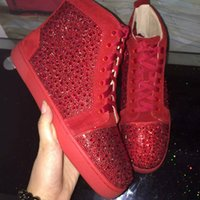 Strass Mens Womens Casual Shoes Unisex Red Bottom Multi Color High Top Luxury Brand Flats Sneaker Fashion Design Estate / Autum scarpe